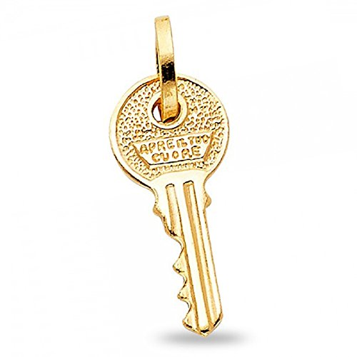 Solid 14k Yellow Gold Apre il Tuo Cuore Pendant Italian Open Your Heart Key Charm Genuine 20 x 9 mm