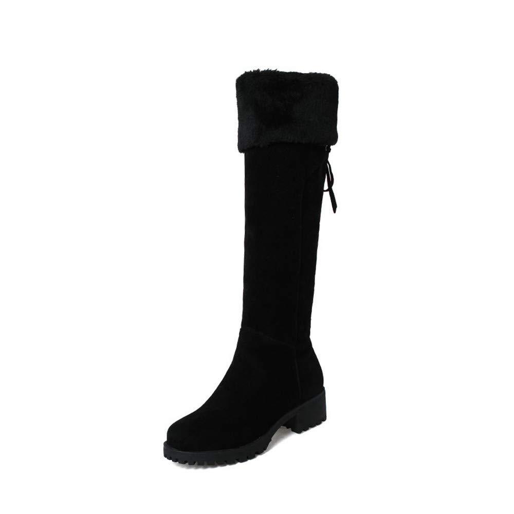 HAOLIEQUAN Office Lady High Heels Stiefel Zipper Bowknot Winter Winter Winter Schuhe Frauen Warm Dicke Kniehohe  Stiefel Schuhe Größe 32-44 9a4b02