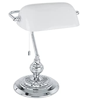 Bankers Lamp Finish: Chrome, Shade Colour: White: Amazon.co.uk ...