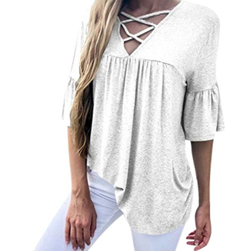 - Women's Sexy Fashion Half Sleeves Cross V-Neck Solid Color T-Shirt White