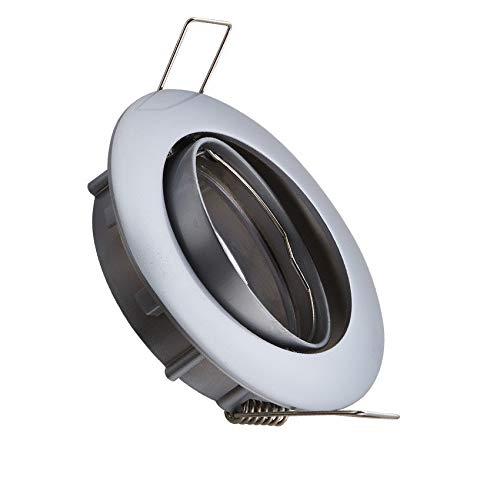 Aro Downlight Circular Basculante para Bombilla LED GU10 / GU5.3 Cromo Satinado efectoLED: Amazon.es: Iluminación