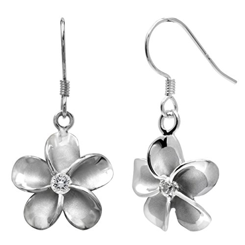 Sterling Silver Plumeria Hook Earrings with CZs, -