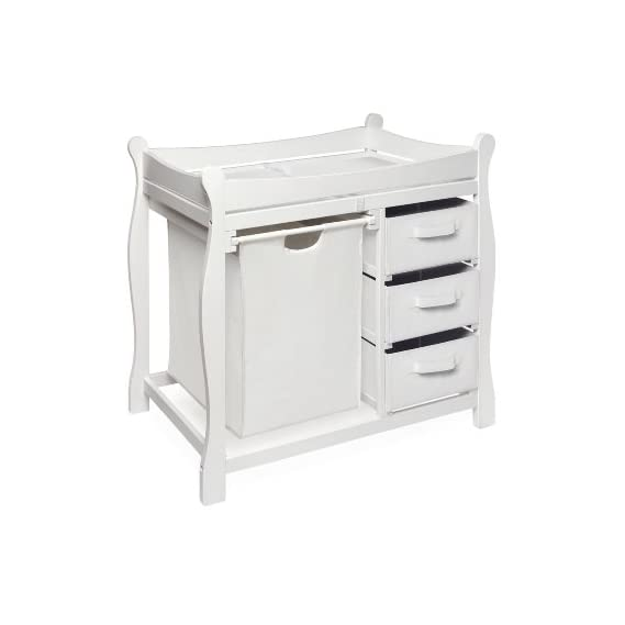 MPN: 02400 Badger Basket Company Sleigh Style Changing Table with Hamper/3 Baskets in White