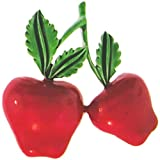"""GirlPROPS(R) 1 1/2"""" Vintage Enameled Double Apple Pin, Signed Jj, Quality Made in USA!, in Red"""