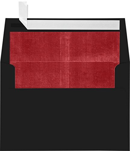 Black Lux Lining - A4 Foil Lined Invitation Envelopes (4 1/4 x 6 1/4) w/Peel & Press - Black w/Red LUX Lining (50 Qty.) | Perfect for the HOLIDAYS, RSVP Cards, Announcements, Notes, and More! |FLBK4872-01-50