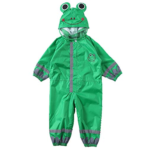 Kids Raincoat One Piece Rain Suit Reflective Rain Jacket Hooded Coverall Green L