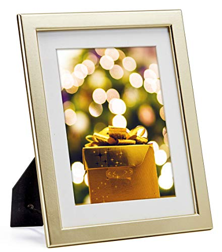 od Picture Frame with Glass Front - with Mat for 6x8 or without Mat for 8 by 10 Photo,Thin Frame Design for Table Desk Top Standing or Wall Hanging ()