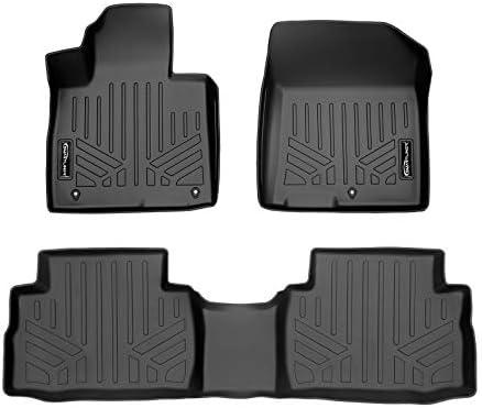SMARTLINER Custom Fit All Weather Black 2 Row Floor Mat Liner Set for 2021 Hyundai Santa Fe