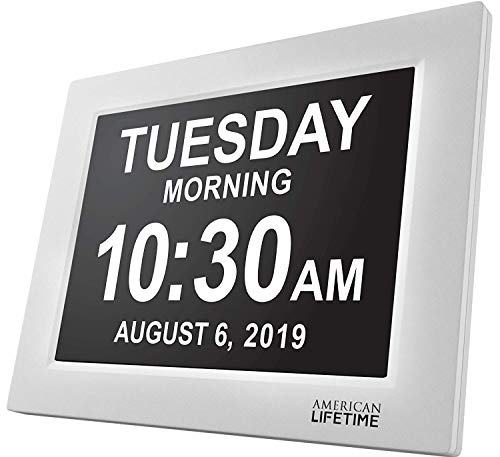 American Lifetime [Newest Version] Day Clock - Extra Large Impaired Vision Digital Clock with Battery Backup & 5 Alarm Options - White (Clock Home)