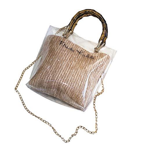 (Girl's Makeup Bag Miuye Stylish Clear Messenger Bags Bamboo Weave Shoulder Hobo Bags Top Handle Bags Rucksack Beige )