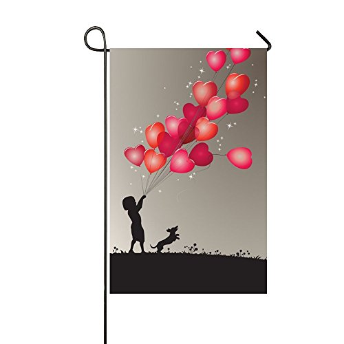 Running Dog Child Hold Beautiful Hearts Ballons Valentine's Day 28x40 Inch House Flag - Double Sided Decorative Outdoor Flag ()