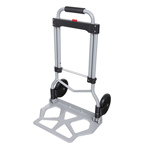 PEATAO Aluminum Folding Hand Truck with 2 Rubber Wheels, Heavy Duty Handle Utility Cart for Luggage, Travel [US Stock] (220LB) by PEATAO (Image #2)