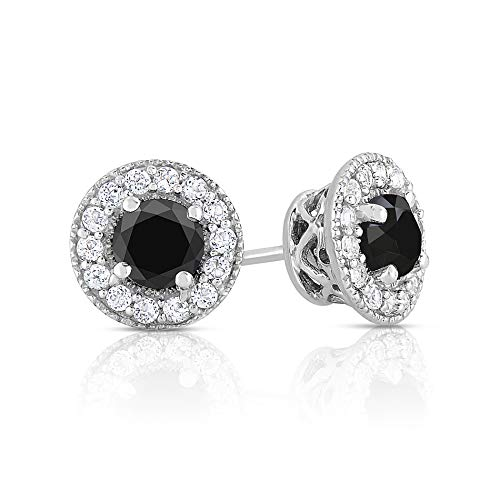 (Black Diamond and White Topaz Halo Stud Earrings-1.50 Ctw)