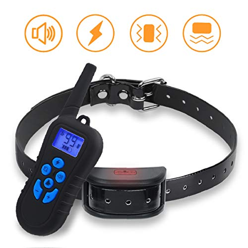 Dog Trainning Collar, Electric Shock Collar with 1600ft Remote, Rechargeable and IP7 Level Waterproof Electric Trainning Collar with Beep Vibration Shock for Small Medium Large Dogs