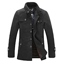 NiSeng Mens Trench Coat Slim Fit Jackets Wool Blend Thicken Warm Jacket