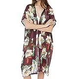 Winsummer Women's Beach Cover Up Floral Print Chiffon Summer Sun-Protection Swimwear Kimono Cardigan Red