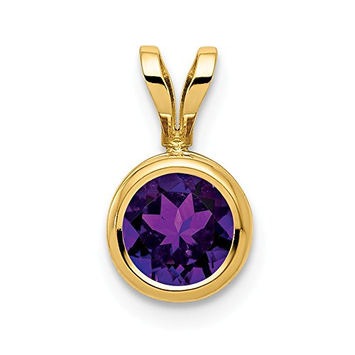 14k Yellow Gold 6mm Purple Amethyst Bezel Pendant Charm Necklace Gemstone Fine Jewelry Gifts For Women For Her
