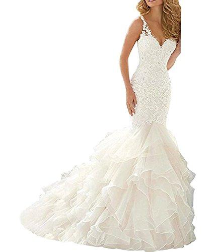 Alanre Women's Mermaid Sweetheart Beaded Organza Ruffle Wedding Bride Gowns Lace White B 2