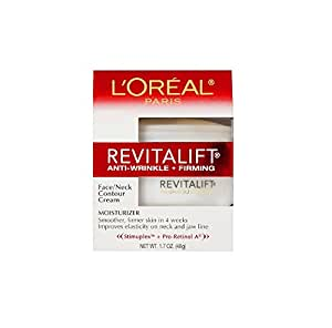 L'Oreal Paris RevitaLift Anti-Wrinkle + Firming Face & Neck Contour Cream, 1.7 Fluid Ounce (Pack of 2)