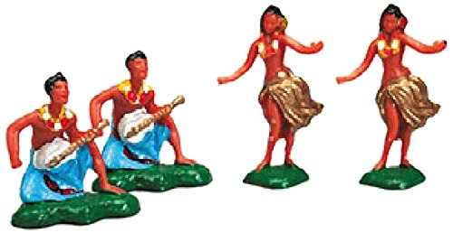 Oasis Supply 12-Piece Hawaiian Hula Dancers for Cake Decorating or Scenery Design, Small ()