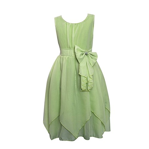Flower Girl Kids Dress Rulffled Chiffon Green 120 (5-6T)