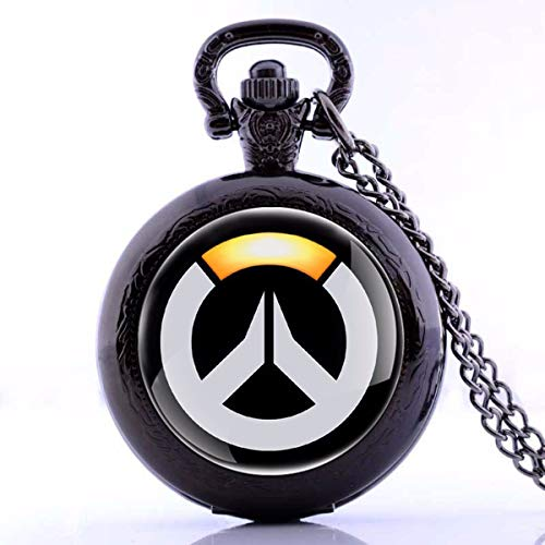 Onlyfo Overwatch Logo Pattern Pocket Watch Locket Pendant Necklace with Jewelry Box,Overwatch Necklace for Boys,Girls (Black) from Onlyfo