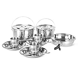 Odoland 15pcs Camping Cookware Mess Kit, Stainless Steel Camping Cooking Pots Pan with Plates Cups Forks and Spoons, Compact Outdoor Cook Set for Camping, Hiking, BBQ, Picnic