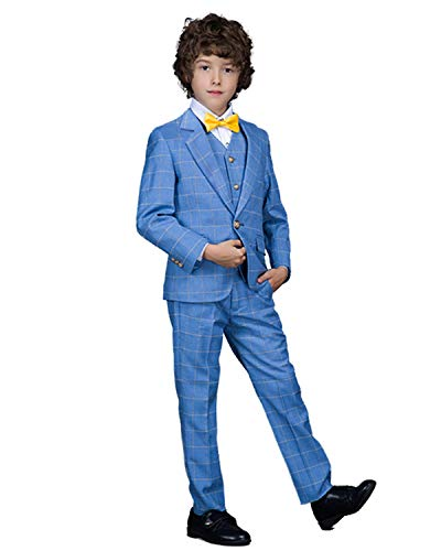 Yanlu 5 Piece Ring Bearer Suits Boys Tuxedo Plaid Suit Size 5 Blue (Five Piece Tuxedo Set)