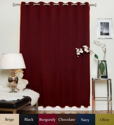 Blackout Curtain Burgundy Wide Width Nickel Grommet Top Thermal Insulated 100 Inch Wide By 120 Inch Long Panel For Sale