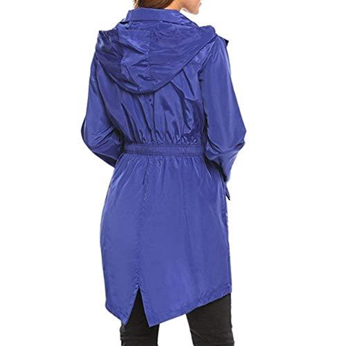Elastica Primaverile Vita Viaggio Leggero Outerwear Donna Impermeabile Moda Con Monocromo Irregular Spacco Elegante Lunga Cute Blau Mantello Cappotto Autunno Cappuccio Chic AnWZZB