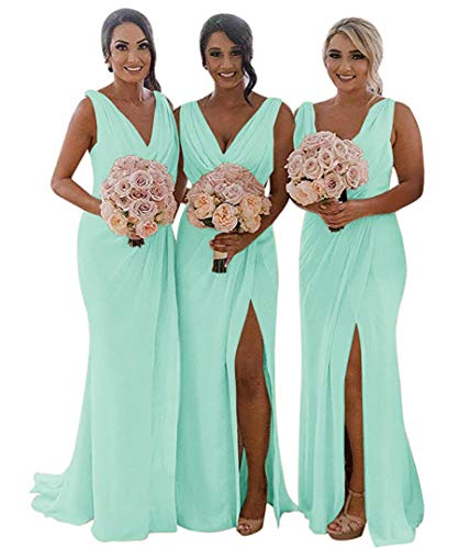 MARSEN Slit Bridesmaid Dresses Long V-Neck Chiffon Pleated Beach Wedding Party Dress 2019 Mint Green Size 8