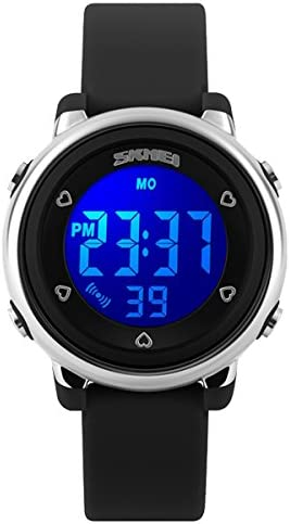 Kids Teens Girls Boys Waterproof Sports Digital Watches Timer with Alarm Stopwatch 7 colorful luminous Black