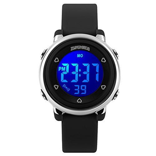 5 Sport Jelly Digital (Kids Teens Girls Boys Waterproof Sports Digital Watches Timer with Alarm Stopwatch 7 colorful luminous Black)