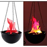 Electronic Brazier Lamp Hanging Flame Light 3D Flickering Fake Fire Simulation Flame Party Stage Halloween Christmas Decor Lighting (20cm)