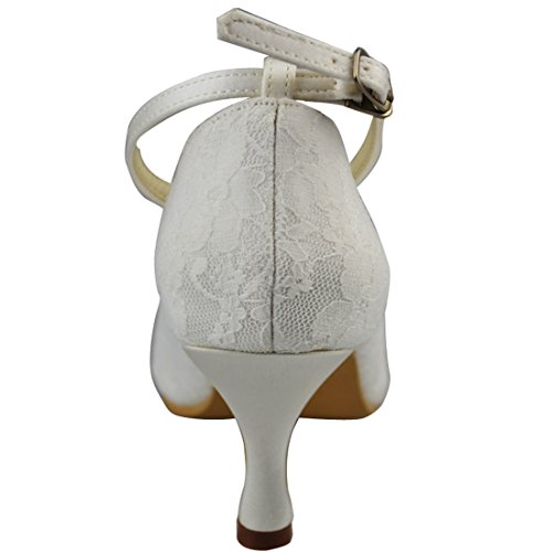 Minishion Kvinna 2,5 Tums Klack Spets Kväll Part Brud Bröllop Beading Strappy Skor Pumpar Elfenbens 7cm Klack