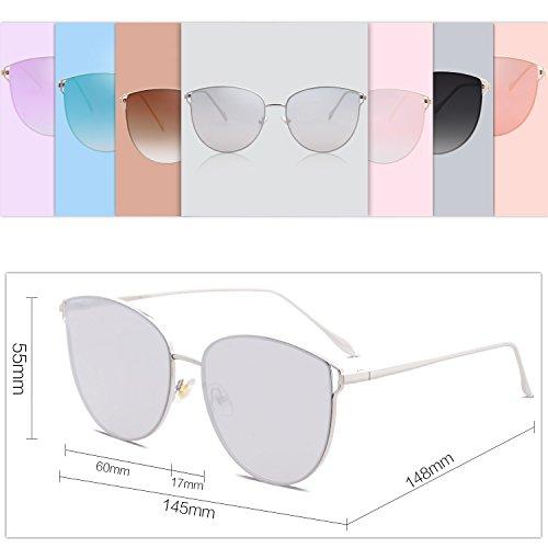 Espejo Redonda De Sol Plateado Plana De C6 Plateado Marco Gato SOJOS Mujer Lente Gafas SJ1085 Metal Retra Ojo qaFSSn