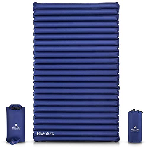 Hikenture Double Camping Pad with Pump Bag Inflatable Air Mattress - Light and Compact - for Backpacking, Self-Driving Tour, Hiking, Tent(Navy Pumpsack) best to buy