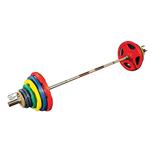 Body-Solid Colored Rubber Grip Olympic Set with Bar, Black/Cyan, 300 lb For Sale