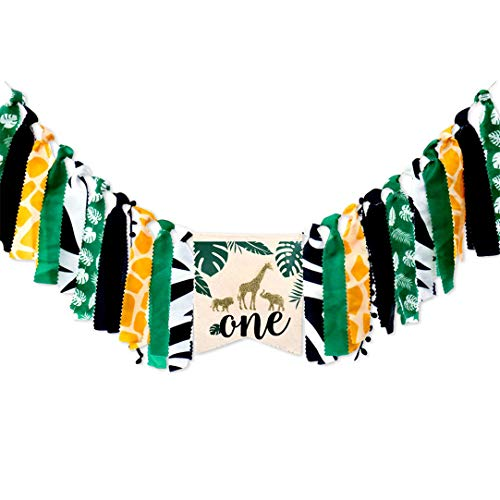 Handmade Tassel Garland Jungle Theme Forest Green First Birthday Party Wall Banner for Baby Girls Boys, Ins Style Giraffe 1st Birthday Party High Chair Banner (Safari Style Chairs)