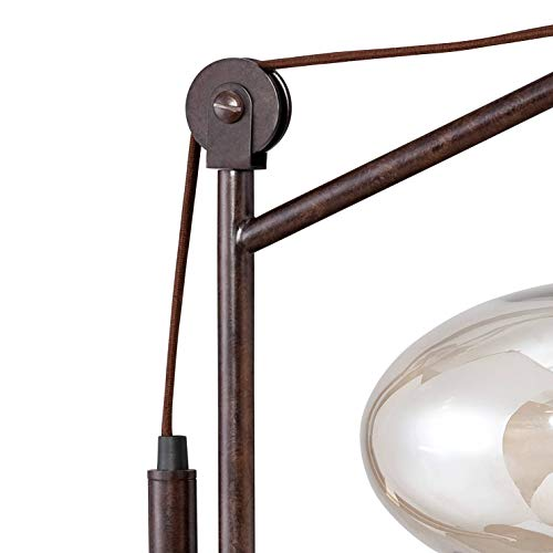 Calyx Industrial Desk Table Lamp Antique Bronze Brass Cognac Glass Shade Edison Style for Living Room Bedroom Office - Franklin Iron Works by Franklin Iron Works (Image #4)