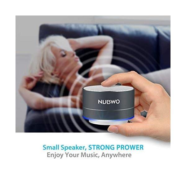 Enceinte Bluetooth, NUBWO A2 Enceinte Bluetooth Mini Portable de Voyage, Enceinte sans Fil avec des Basses Enforcées et des Appels en Mains Libres, Fonctionne avec iPhone, iPad, Samsung - Noir 5