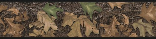 Camouflage Wall Border (Mossy Oak Camo Leaves Set of 4 Self-Stick Wall Borders)