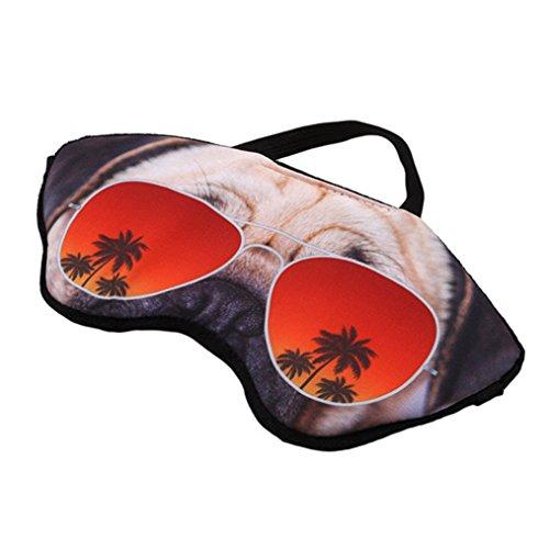 Edtoy Cute Animals Sleeping Eye Mask Travel Home Cute Shading Eyeshade (Glasses pug)