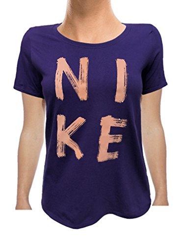 NIKE Womens Just Do It Swoosh Graphic T-Shirt (Large, Purple/Gold)