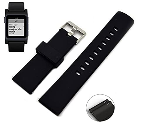 Kartice 22mm for Pebble 2 + Heart Rate Silicone Strap Rubber Watchband Band with Quick Release Pins for Pebble 2 Pebble Time 2 Time Steel (Pebble Steel Black Watchband)