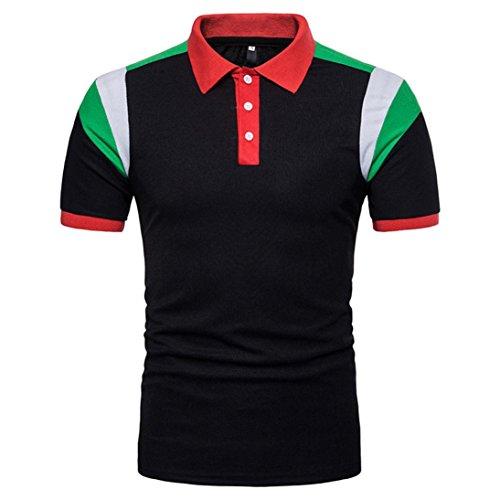 (GREFER Men's Short Sleeve Classic Lapel Polo Shirt T Shirt Top (M, Black))