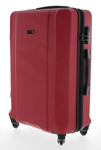 Pianeta / Boston Trolley valigia da viaggio bagaglio a mano valigia guscio rigido 100% ABS (rosso XL (75cm))