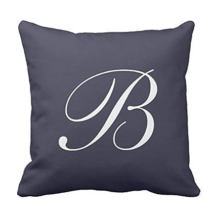Amazon Letter B Navy Blue Monogram Throw Pillow Cover Inspiration Monogrammed Throw Pillow Covers