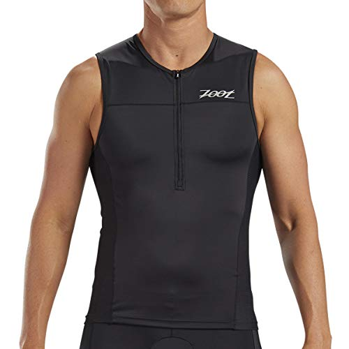 Zoot Men's Core Tri Tank - Performance Triathlon Top with Mesh Panels and 3 Pockets (Black, Large) ()