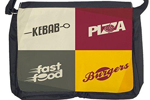 Borsa Tracolla Alimentare Ristorante Pizza kebab Burger Stampato